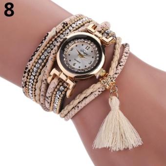 DUOYA Women Ethnic Style Rhinestone Tassels Braided Faux Leather Bracelet Wrist Watch (Be) -
