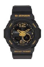 Dziner A101 Dual Time Sport - Jam Tangan Pria - Hitam-Emas - Rubber