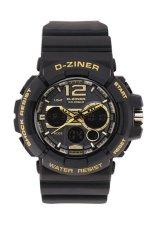 Dziner A115 Dual Time Sport - Jam Tangan Pria - Hitam-Emas - Rubber