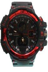 Dziner A220 Dual Time Sport - Jam Tangan Pria - Hitam-Merah - Karet