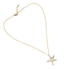 1pcs Women New Fashion Five-Pointed Star Pearl Pendant Necklace Golden (Intl)