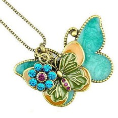 Rhinestone Colored Glaze Double Butterfly Flower Pendant Long Necklace (Intl)