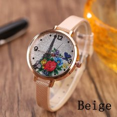 Eiffel Tower Leather Girls Leisure Dress Watch Women's Fashion Quartz Analog Wrist Watches - beige - intl