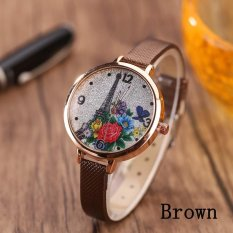 Eiffel Tower Leather Girls Leisure Dress Watch Women's Fashion Quartz Analog Wrist Watches - brown - intl