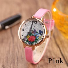 Eiffel Tower Leather Girls Leisure Dress Watch Women's Fashion Quartz Analog Wrist Watches - pink - intl