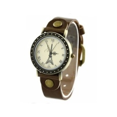 Eiffel Tower Leather Strap Watch (Brown) - intl