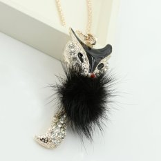 Elegant Black Feather Enamel Rhinestone Fox Long Sweater Chain Necklace (Intl)