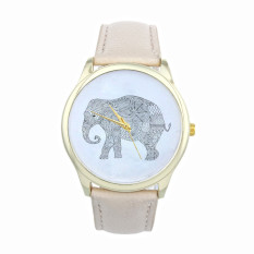 Elephant Women Printing Pattern Weaved Leather Quartz Dial Watches Beige (Intl)
