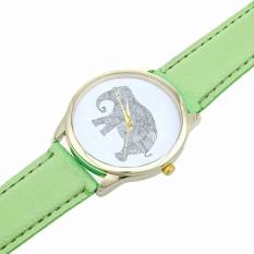 Elephant Women Printing Pattern Weaved Leather Quartz Dial Watches Mint Green (Intl)