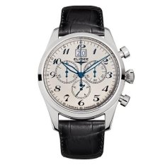 Elysee Male Classic Chrono Big Date Jam Tangan Pria - Hitam - Strap Leather Strap - 38015