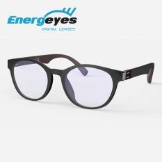 ENERGEYES Kacamata Anti Radiasi Anti Lelah Melindungi Mata & Mengurangi Blue Light sampai 50% Dewasa Bundar warna depan Hitam belakang Coklat Moka - intl