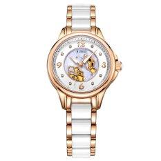 Equipn BUREI Luxury Watch Women Crystal Sapphire Dress Quartz Wristwatch 5ATM Waterproof Hollow Dial Ceramic Stainless Steel Clock (Gold White Ceramic)
