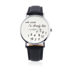 ERA New Fashion Luxury Men's Wrist Watches PU Leather Band Funny Cute Black - Intl