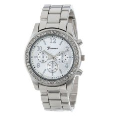Essential Faux Chronograph Quartz Plated Classic Round Ladies Women Crystals Watch Silver- Intl