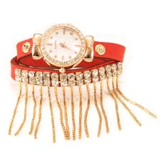ETOP Lady Women's Retro Tassel Bracelet Watch Wristwatch (Red)