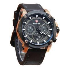 Expedition - Jam Tangan Premium Pria - Leather Strap - E 6606 Black Gold