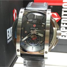 Expedition Jam Tangan Pria Expedition E6725M Silver Stainless Steel Leather Black