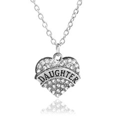 Family Christmas Gift For Women Chain Link Silver Alloy Clear Rhinestone Crystal Love Heart Daughter Charm Pendant Necklace (Intl)
