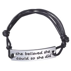 Family Friend Women Gift She Believed She Could So She Did Bracelet Teacher's Day Mother's Day Adjustable