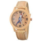 Family Set Parent-Child Casual Watch Cartoon Bird Pattern Wood Style PU Leather Strap Wristwatch - Intl