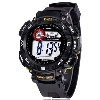 Famous Brand Synoke Men Sports Watches Waterproof LED Digital Water Proof Watch ss89068_Yellow