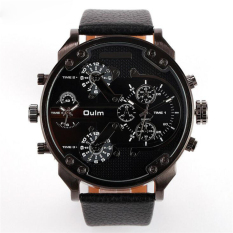 Famous Designer Mens Watches Top Brand Luxury Quartz-Watch Oulm Leather Strap Big Face Military Quartz Clock Relogio Masculino (Black)