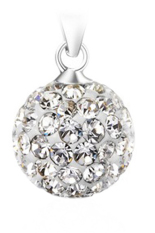 Fancyqube Chain Crystal Rhinestone Necklace Ball Pendant Silver
