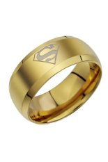 Fancyqube Fashion Perhiasan Cincin Pria Sederhana Superman Logo Jari Sekitar Emas