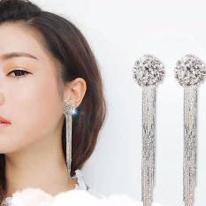 Fancyqube klip pada sekrup berlian imitasi panjang jumbai Diamante perhiasan anting-anting wanita - ต่าง