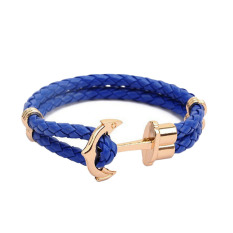 Fancyqube Men Double-Deck Boat Anchor Weave Chain Leather Bracelets Blue Rope Gold Anchor