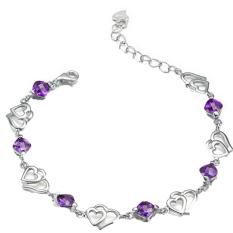 Fancyqube Women 925 Sterling Silver Double Heart Bracelet Crystal Chain Bangle Purple