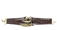 Fang Fang Fashion Jewelry Leather Infinity Triangle Believe Multilayer Bracelet Wristband (Brown)