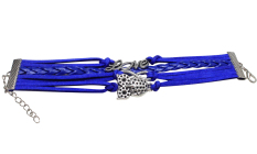 Fang Fang Jewelry Leather Love Infinity Owl Multilayer Bracelet Wristband (Blue)