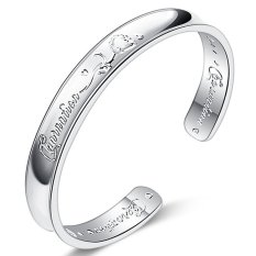 Fashion & Simple Sterling Silver Rose Style Opening Bangles For Women (Silver) (Intl)