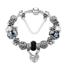 Fashion Beaded Charm Bracelets With Black Murano Glass Beads & Mother Daughter Heart Dangles