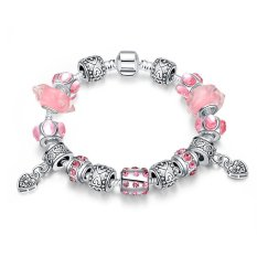 Fashion Charm Bracelet Crystal Beads and Pink Murano Glass Beads Fit Snake Chain (Intl)