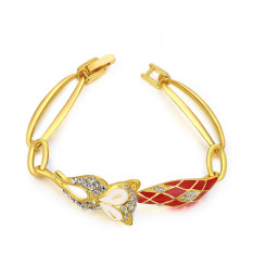 Fashion Charm Fox 18K Gold Plated Women Lady Anniversary Engagement Jewelry Bracelet (Gold Color)