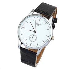 Fashion Classic Unisex Quartz Electronic Analog Leather Strip Wrist Watch (White)