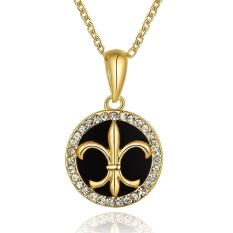 Fashion Elegant Crystal Circle Pendant Rhinestone Crystal Paint Wedding Anniversary Chain Jewelry Necklace (Platinum)