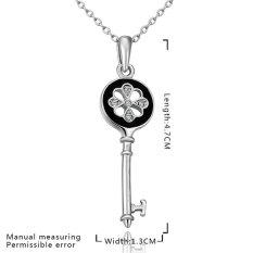 Fashion Elegant Key Pendant Rhinestone Crystal Paint Gift Engagement Chain Jewelry Necklace (Platinum Color)