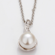 Fashion Elegant Pearl Pendant Rhinestone Crystal Man-Made Pearl Engagement Anniversary Chain Jewelry Necklace (Platinum Color)