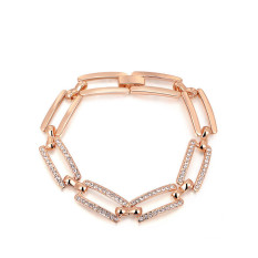 Fashion Elegant Rectangle Frame Rose Gold Plated Lady Girls Party Anniversary Jewelry Bracelet (Rose Gold Color)