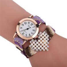 Fashion Ethnic Woven Band Pearl Heart Women's Bracelets Watch LC333 Colorful