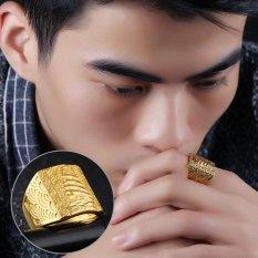 Fashion Gold Color Men Rings Wide Big Finger Ring Adjustable Fashion Wedding Ring Punk Man Jewelry - intl