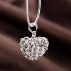 Fashion Heart Crystal 925 Sterling Silver Snake Chain Pendant Necklace Jewelry (Intl)