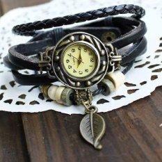 Fashion Black Weave Wrap Around Leather Bracelet Lady Woman Wrist Watch