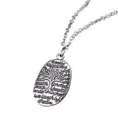 Fashion Jewelry Chain Link Retro Silver Alloy Ellipse Tree Best Wishes Pendant Necklace Gift For Family Friends (Intl)