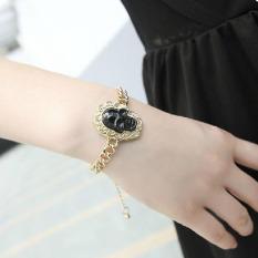 Fashion Jewelry Gothic Punk Style Black Skull Golden Chain Bracelet Bangle - Intl