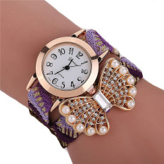 Fashion Korean Style Woven Band Pearl Bowknot Bracelets Watch LC285 Colorful