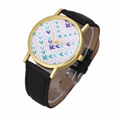 Fashion Lady Women Quartz Aztec Tribal Pattern Leather Wrist Watch (Black)